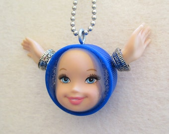 Blue Angel doll face pendant