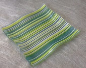 Fused Glass Plate 8 Inch Square Food Safe Decorative Textured Spring Garden Blue Green White