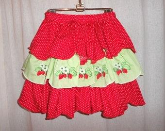 Skirt Ruffled 3 Tiers Red Polka Dot Strawberries Girls Size 5-6