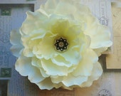 White Peony with Vintage Rhinestone Button Hair Clip