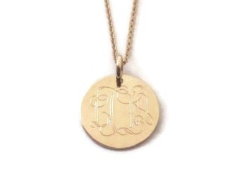 Gold monogram disc necklace gold filled personalized engraved necklace