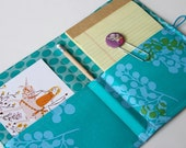 Notepad Holder Organizer, List Taker - Turquoise Blue Berries and Linen