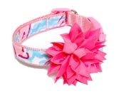 Dog Collar and Removable Flower Puff Made from Lilly Pulitzer Lobstah Roll Fabric Size: Your Choice