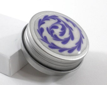 Small Spiral Treasure Box - Purple and White Spiral - Jewelry Box - Trinket Box - Pill Box - Handmade - #1
