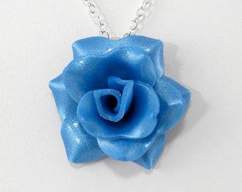Light Blue Rose Pendant - Simple Rose Necklace - Light Blue Rose Necklace  - Handmade Wedding Jewelry - Polymer Clay Rose Pendant #261