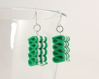 Ribbon Candy Earrings - Christmas Earrings - Green and White Striped Earrings - Holiday Earrings - Handmade, Polymer Clay - Readyto Ship #84