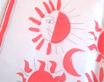 Storybook Suns - a rare, collector's favorite, vintage 1940s Vera Neumann parachute silk scarf - 31 inches