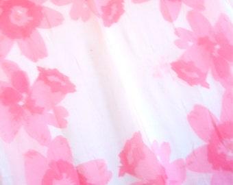 "Pink Daffodils - a Sumi-e painted, vintage 1950's Vera Neumann Lucky Ladybug ""VeraSheer"" Silk Scarf"