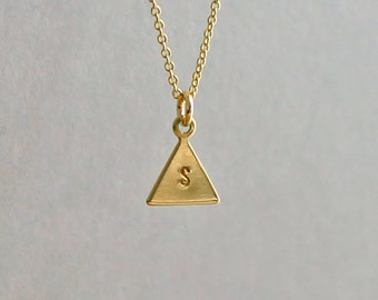 Initial Triangle Necklace, Girlfriend Personalized Charm Necklace, 14K Gold Fill, Geometric Necklace, Wife Gift, Mothers Day Gift