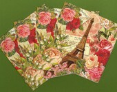 PN006B Set of 4 Paper Napkins Punch Studio ~ 6.5x6.5 Art Nouveau French  Eiffel Tower, Red Roses, lily-of-the valley, post cards