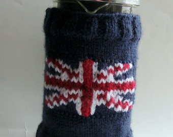 Union Jack French Press Cozy Hand Knitted 8 cup Cafetiere