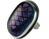 Sterling Silver Ring Purple and Blue Dichroic Glass