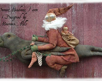 """Primitive E-PATTERN Santa riding on a Giant Crow BIG 36"""" long PDF"""