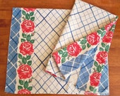 Vintage Kitchen Towel - Rose Trellis in Red, White, and Blue - Unused