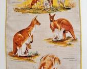 Vintage Linen Tea Towel - Kangaroos - Souvenir of Australia