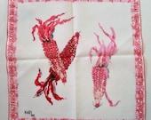 Vintage Linen Handkerchief - Pink White Ears of Corn - Designer Kati