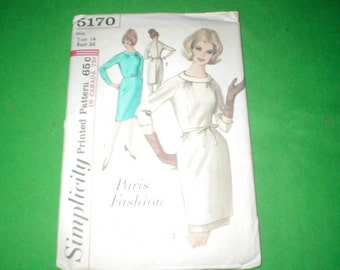 Vintage Simplicity Paris Fashion dress pattern 5170
