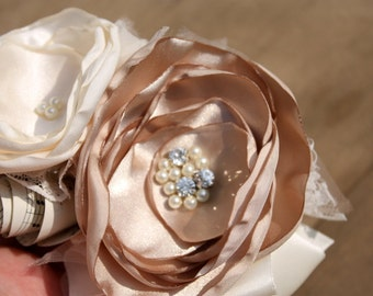 Wrist corsage, champagne and cream wrist corsage for mother of the bride or bridesmaid