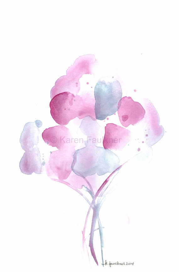 """Original watercolor painting of abstract flowers: """"Misty Bouquet"""""""