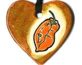 Habanero Ceramic Heart Necklace in Brown