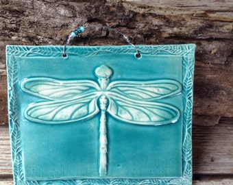 Turquoise Dragonfly Ceramic Tile