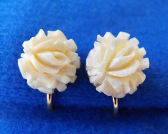 Vintage Earrings, Carved Bone Roses, Screwbacks, AMCO, Signed, 14K Yellow Gold Filled, ca 1960s LK-26