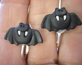 """Black Bat Earring - Clip or Pierced - 3/4"""""""