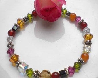 Autumn Bracelet Swarovski Crystals w Carnelian Gemstones