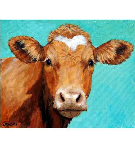 Guernsey cow art farm animal print face on light teal for Cow painting print