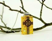 Celtic Cross Pendant - Dichroic Cross Necklace - Dichroic Jewelry - Fused Glass Christian Pendant