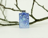 Dragonfly Pendant- Wildflower Necklace- Dichroic Fused Glass Pendant - Fused Glass Jewelry - Fused Dichroic Necklace - Dichroic Jewelry