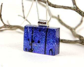Fused Glass Necklace- Blue Dichroic-Dichroic Glass Pendant-  Cobalt Blue- Dichroic