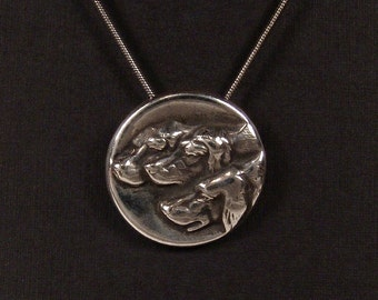Sterling Silver Three Dogs pendant made from antique vintage button