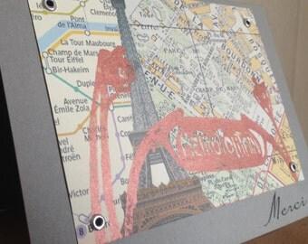 Merci - Paris Map Thank You Screen-Printed Card