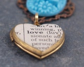 """antique dictionary definition """"love"""" locket with turquoise/aqua vintage glass"""