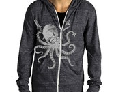 Japanese edgy Unisex Ninja Octopus Eco Hether Zip Hoodie Heather Black