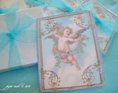 Aqua Cherubini Announcement, Christening Invitations or Cards with Aqua Shimmer Envelopes and Angel Seals Set of Six