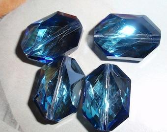 Lapis Crystal, Translucent Octagon Beads-4