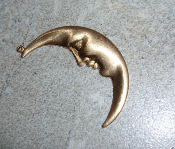 Brass Crescent Moon Celestial Pendant Charm Stamping