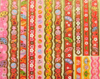 Japanese Washi Stickers Plum Blossoms And More Sticker Strips Traditional Japanese (S124)