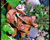 Horse and Rider Mexican folk art terra cotta sculpture