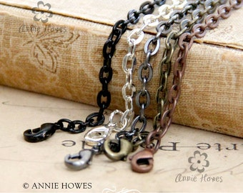 "25 Link Chains with Lobster Clasp. Available in Vintage Copper, Vintage Gold, Black, and Silver. 24"" Length."