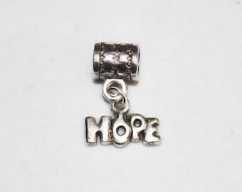 Silver Hope Affirmation Lrg Hole Bead Fits All European, all Add a Bead Charm Bracelet Jewelry AAB-Gn088eb