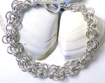 Sterling Silver Butterfly Chainmaille Bracelet
