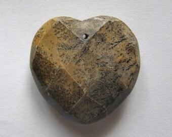 Artistic Jasper 32x32 Faceted Heart Pendant Bead