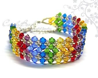 Rainbow bracelet; crystal bracelet; Swarovski bracelet; Glass bracelet;Swarovski Crystal Bracelet, Dark Rainbow Crystal Bracelet