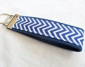 Wristlet Key Fob Key Chain - Mini True Blue Chevron Zig Zag Stripe - Fabric Keychain