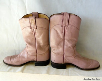Vintage Pearl PINK Roper Boots size 6 B  Eu 36  UK 3 .5 Justin Boot Co. USA Leather Ankle Cowboy Boot