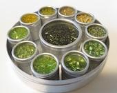 Glass Bead Mix: Light Greens/Yellows - with Aluminum Box Set
