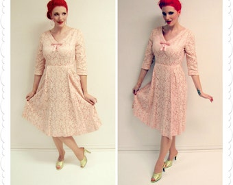 1950s 1960s Pink Satin and Cream Lace Vintage Dress